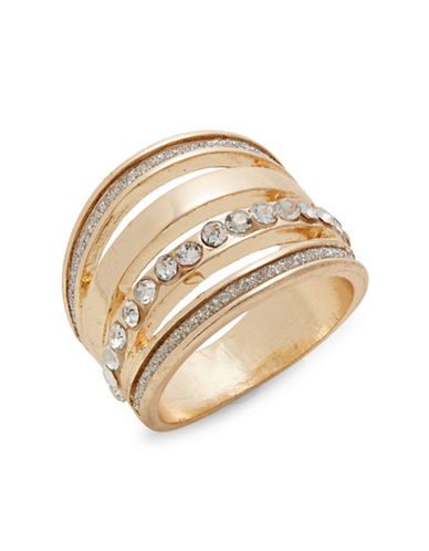 Expression Crystal Glitter Domed Ring-GOLD-8