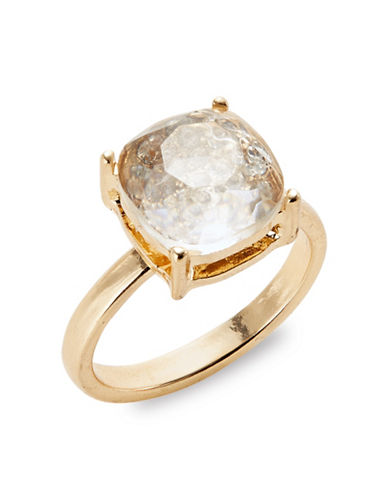 Expression Faceted Stone Solitaire Ring-GOLD-8