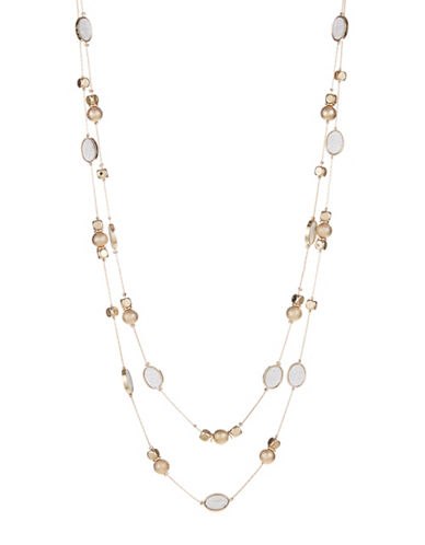 Expression Two-Row Sandblast Necklace-GOLD-One Size