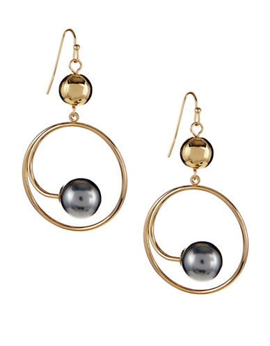 Expression Faux-Pearl Hoop Earrings-GREY-One Size