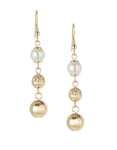 Expression Faux-Pearl Triple Drop Earrings-WHITE-One Size