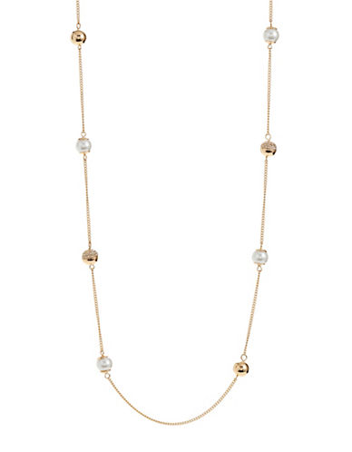 Expression Faux-Pearl Station Necklace-WHITE-One Size