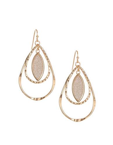 Expression Glitter Detail Teardrop Earrings-GOLD-One Size