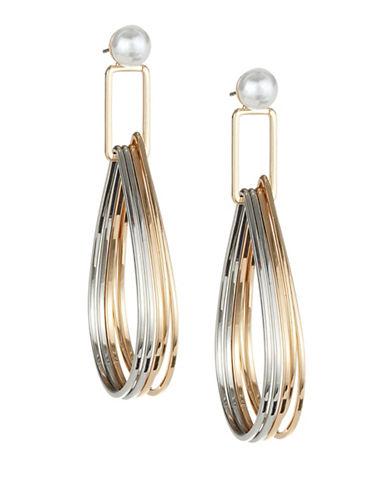 Expression Oval Teardrop Faux-Pearl Hoop Earrings-TRI TONE-One Size
