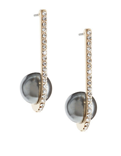 Expression Pave Bar with Faux-Pearl Drop Earrings-GREY-One Size