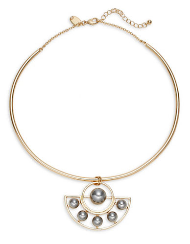 Expression Faux-Pearl Geo-Pendant Torq Necklace-GREY-One Size