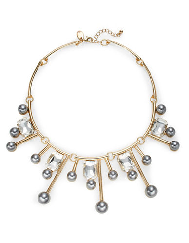 Expression Faux-Pearl on Metal Bar and Stone Necklace-GREY-One Size