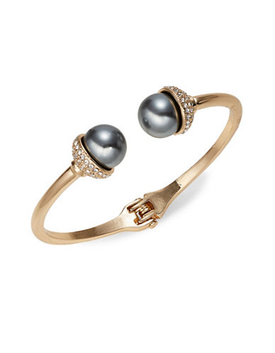 Expression Pave Faux-Pearl Bangle Bracelet-GREY-One Size