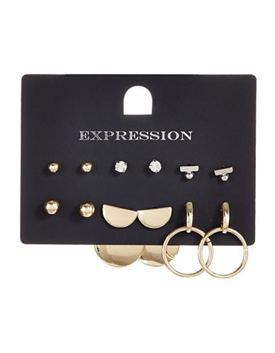 Expression Six-Pack Disc Stud Earrings-ASSORTED-One Size