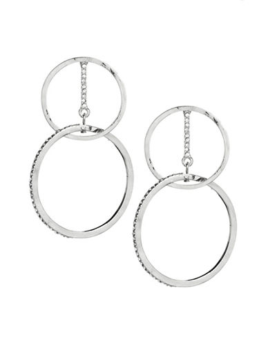 Expression Crystal Circle Drop Earrings-SILVER-One Size