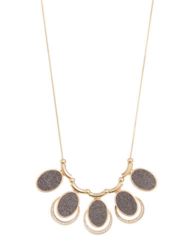 Expression Glitter Oval Statement Necklace-GOLD-One Size