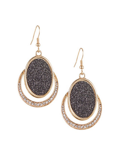 Expression Crystal Circle and Inner Oval Drop Earrings-GOLD-One Size