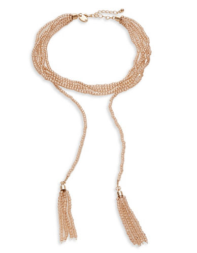 Expression Seed Bead Choker Necklace with Tassels-BROWN-One Size