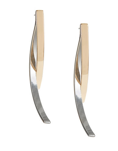 Expression Curve Bar Front Drop Earrings-TWO TONE-One Size