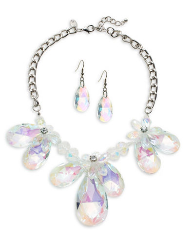 Expression Floral and Teardrop Statement Earrings and Necklace Set-SILVER-One Size