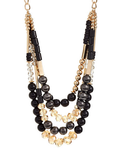 Expression Multi-Row Beaded Necklace-BLACK-One Size