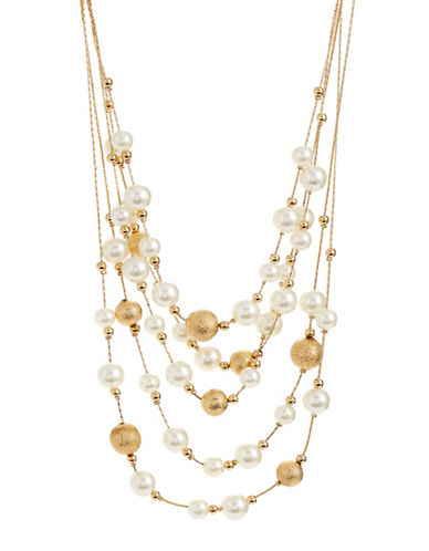 Expression Layered Faux-Pearl Necklace-WHITE-One Size