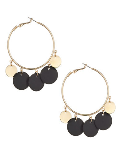 Expression Disc Embedded Hoop Earrings-BLACK-One Size