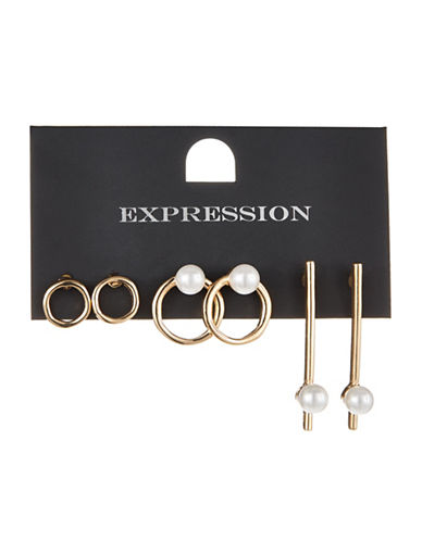 Expression Three-Pack Faux-Pearl Assorted Earrings Set-GOLD-One Size