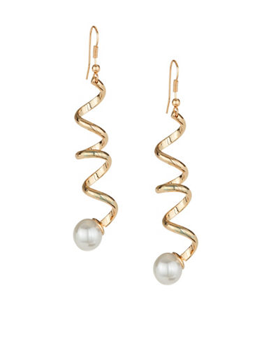 Expression Spiral Pearl Drop Earrings-WHITE-One Size