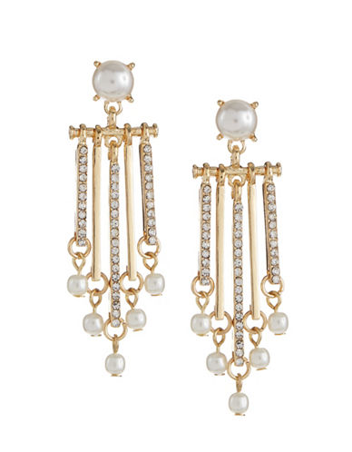 Expression Faux-Pearl Pave Bar Drop Earrings-WHITE-One Size