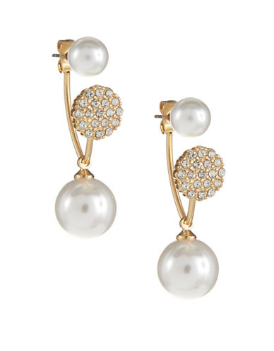 Expression Faux-Pearl Drop Front-to-Back Pave Earrings-WHITE-One Size