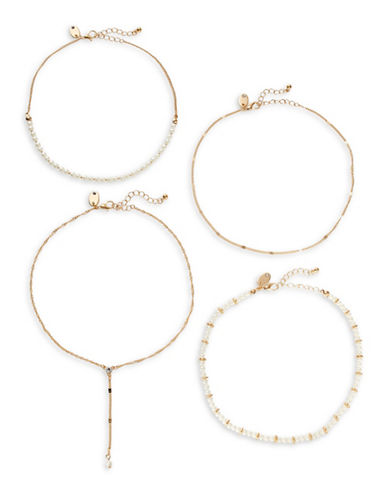 Expression Four-Piece Imitation Pearl and Chain Choker Necklaces Set-BEIGE-One Size