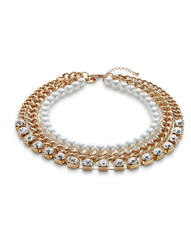 Expression Glass and Faux Pearl Three Row Thick Curb Chain Necklace-GOLD-One Size
