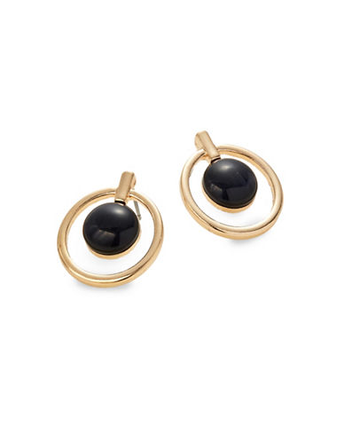Expression Inner Circle Cat-Eye Drop Earrings-BLACK-One Size