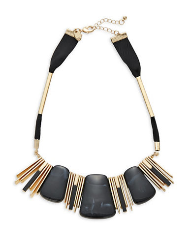 Expression Rectangular Metal Choker Necklace-BLACK-One Size