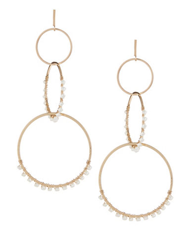Expression Beaded Triple Hoop Earrings-WHITE-One Size