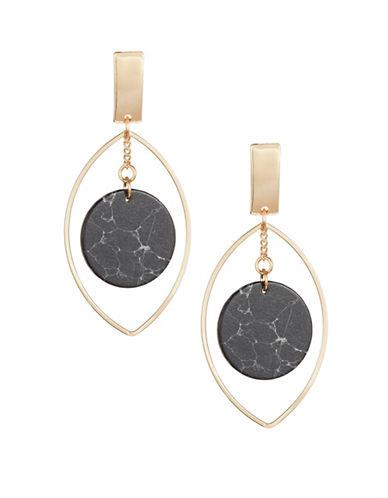 Expression Faux-Marble Teardrop Post Earrings-BLACK-One Size