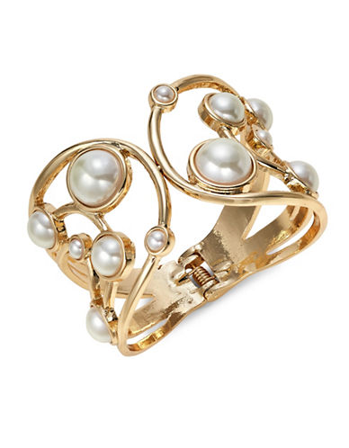 Expression Faux-Pearl Hinge Cuff Bracelet-WHITE-One Size