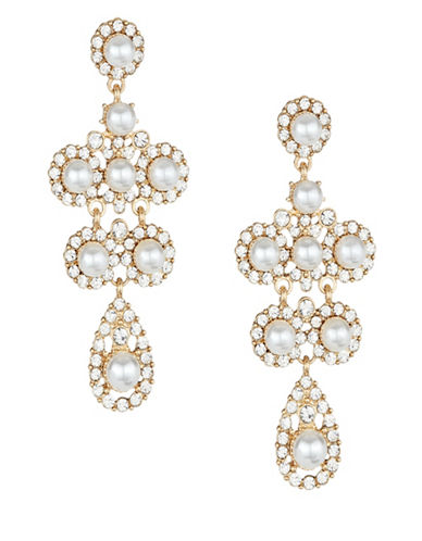 Expression Faux-Pearl Pave Chandelier Earrings-WHITE-One Size