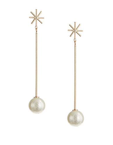 Expression Star Drop Faux-Pearl Earrings-BEIGE-One Size