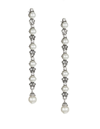 Expression Linear Imitation Pearl Drop Earrings-WHITE-One Size