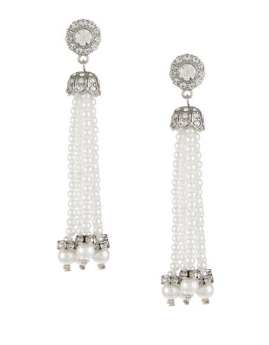 Expression Faux-Pearl Tassel Earrings-WHITE-One Size
