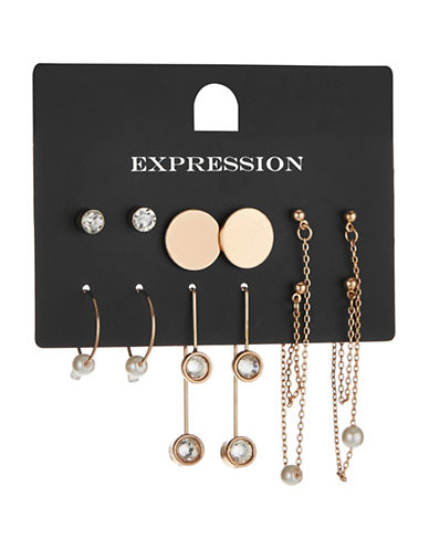 Expression Six-Piece Disc Small Hoop Earrings Set-BEIGE-One Size
