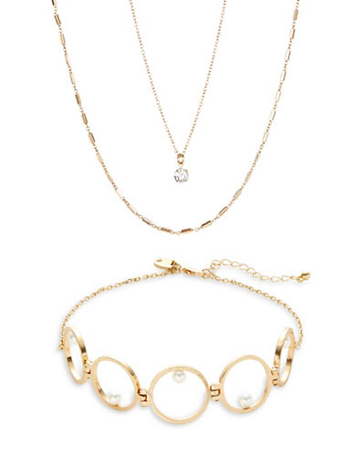 Expression Three Pack of Chain Chokers-GOLD-One Size