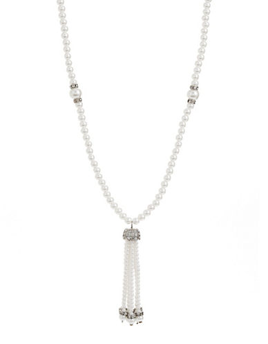Expression Faux-Pearl Tassel Pendant Necklace-WHITE-One Size