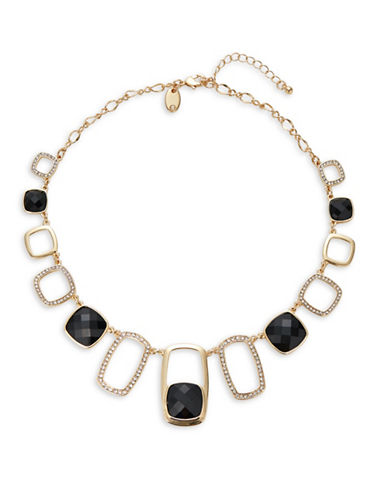 Expression Mixed Cut-Out Stone Necklace-BLACK-One Size