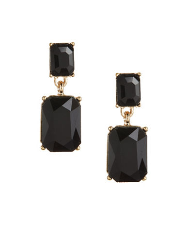 Expression Rectangular Stone Post Earrings-BLACK-One Size