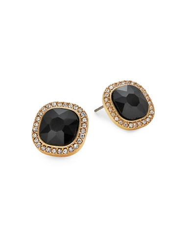 Expression Square Rhinestone Earrings-BLACK-One Size