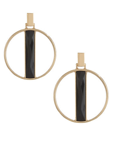 Expression Stone Hoop Drop Post Earrings-BLACK-One Size