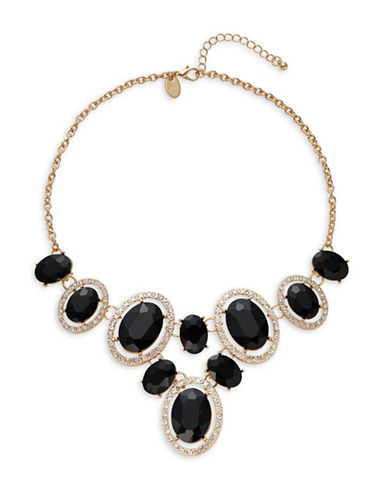 Expression Faceted Oval Stone Drop Necklace-BLACK-One Size