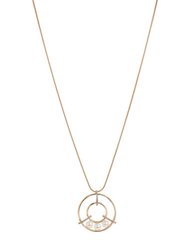 Expression Ring Pendant Necklace with Faux Pearls-WHITE-One Size