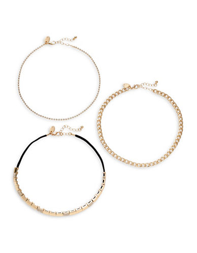 Expression Three-Piece Curb Chain Choker Necklaces-BLACK-One Size