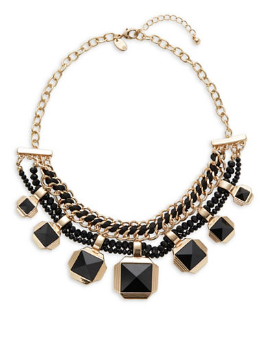 Expression Curb Chain Collar Necklace-BLACK-One Size