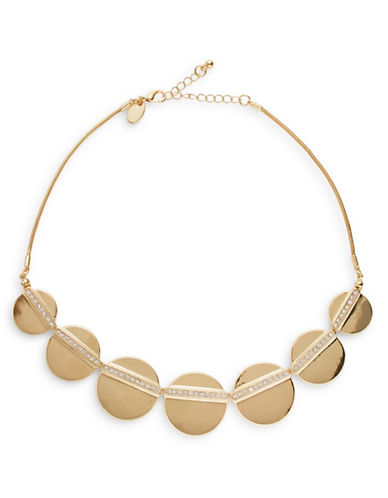 Expression Disc and Stone Collar Necklace-GOLD-One Size