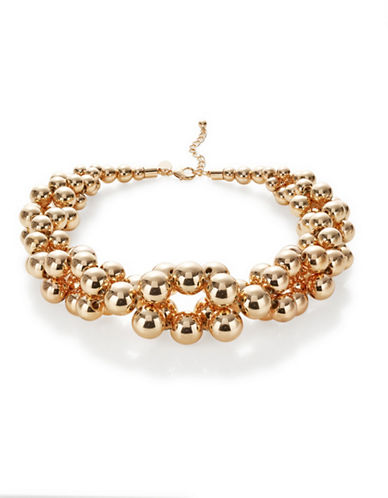 Expression Crystal Multi Ball Statement Necklace-GOLD-One Size